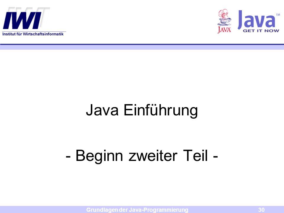 Grundlagen der Java-Programmierung30 Java Einführung - Beginn zweiter Teil -