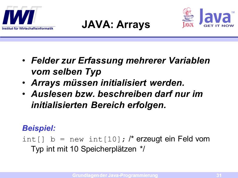 Grundlagen der Java-Programmierung31 JAVA: Arrays Felder zur Erfassung mehrerer Variablen vom selben Typ Arrays müssen initialisiert werden. Auslesen