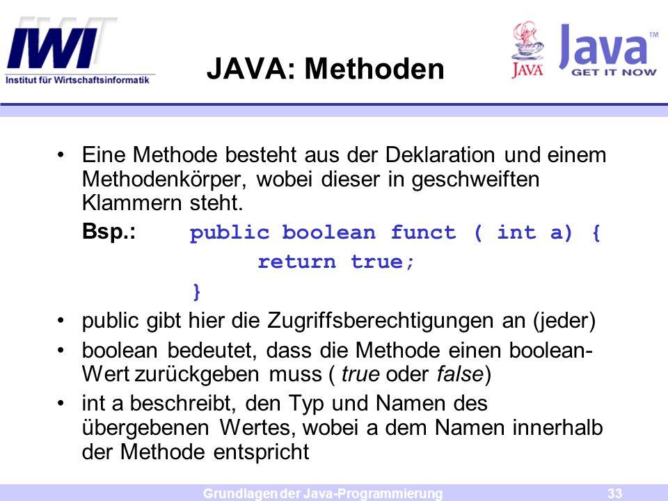 Grundlagen der Java-Programmierung33 JAVA: Methoden Eine Methode besteht aus der Deklaration und einem Methodenkörper, wobei dieser in geschweiften Kl