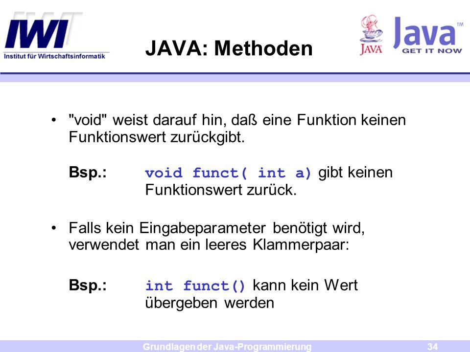 Grundlagen der Java-Programmierung34 JAVA: Methoden