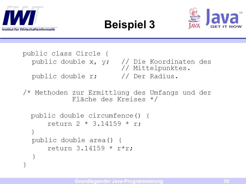 Grundlagen der Java-Programmierung50 Beispiel 3 public class Circle { public double x, y;// Die Koordinaten des // Mittelpunktes. public double r; //