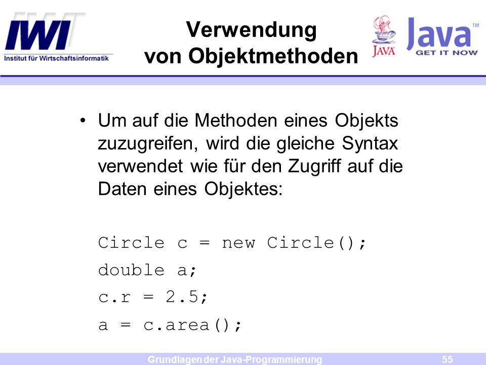 Grundlagen der Java-Programmierung55 Verwendung von Objektmethoden Um auf die Methoden eines Objekts zuzugreifen, wird die gleiche Syntax verwendet wi