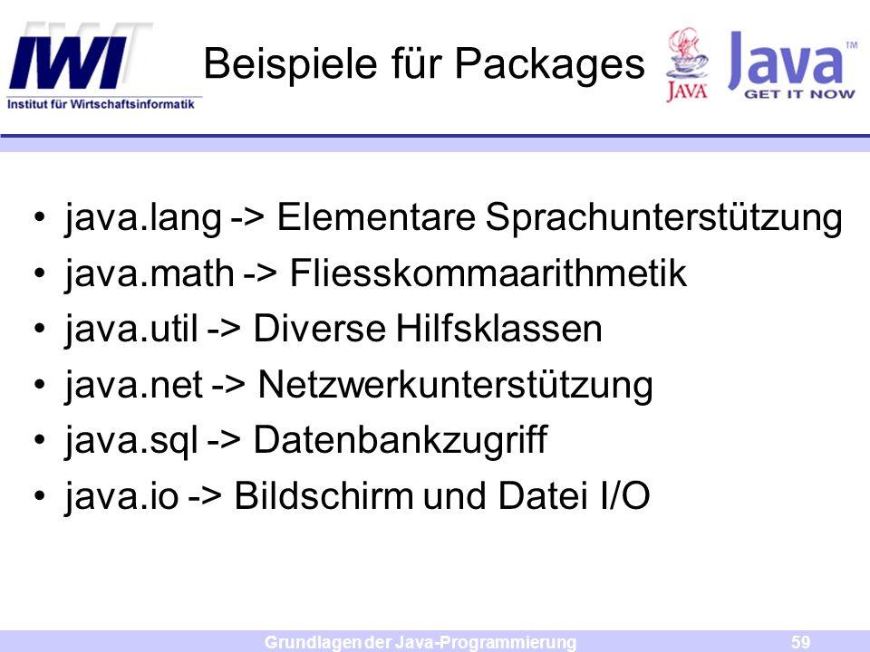 Grundlagen der Java-Programmierung59 Beispiele für Packages java.lang -> Elementare Sprachunterstützung java.math -> Fliesskommaarithmetik java.util -
