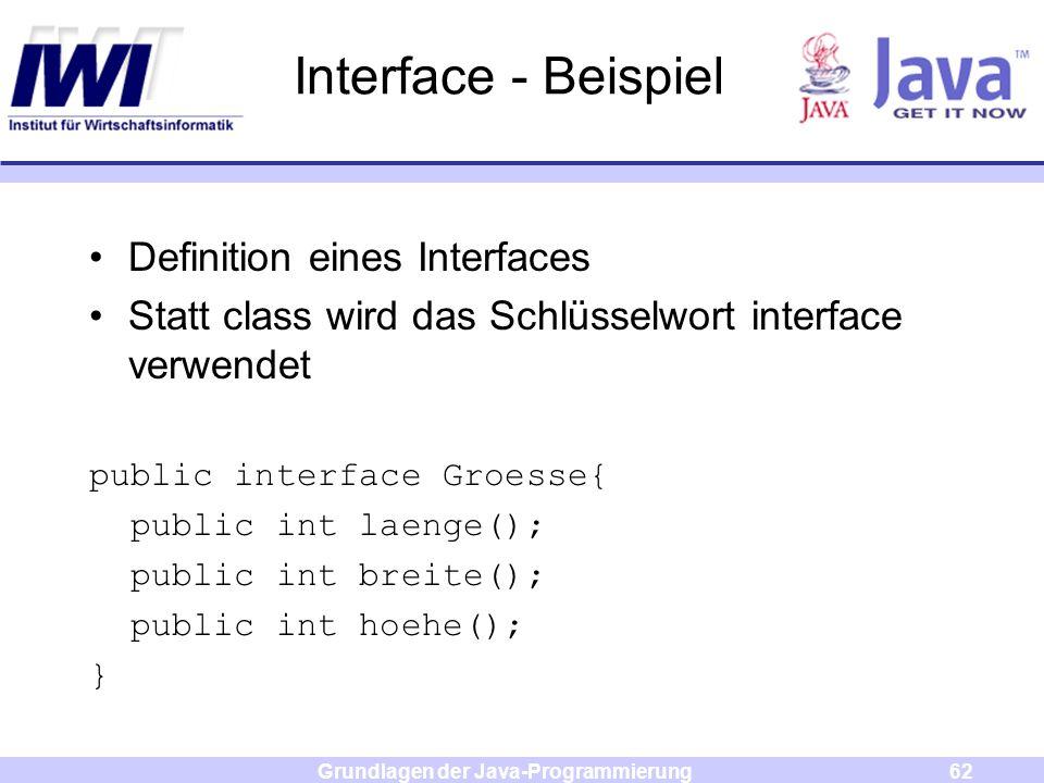 Grundlagen der Java-Programmierung62 Interface - Beispiel Definition eines Interfaces Statt class wird das Schlüsselwort interface verwendet public in
