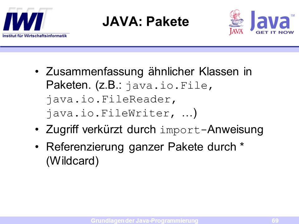 Grundlagen der Java-Programmierung69 JAVA: Pakete Zusammenfassung ähnlicher Klassen in Paketen. (z.B.: java.io.File, java.io.FileReader, java.io.FileW