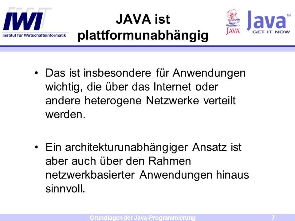 Grundlagen der Java-Programmierung7 Das ist insbesondere für Anwendungen wichtig, die über das Internet oder andere heterogene Netzwerke verteilt werd