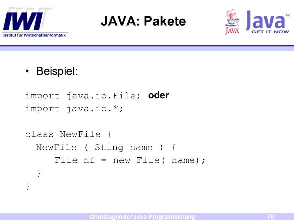 Grundlagen der Java-Programmierung70 JAVA: Pakete Beispiel: import java.io.File; oder import java.io.*; class NewFile { NewFile ( Sting name ) { File