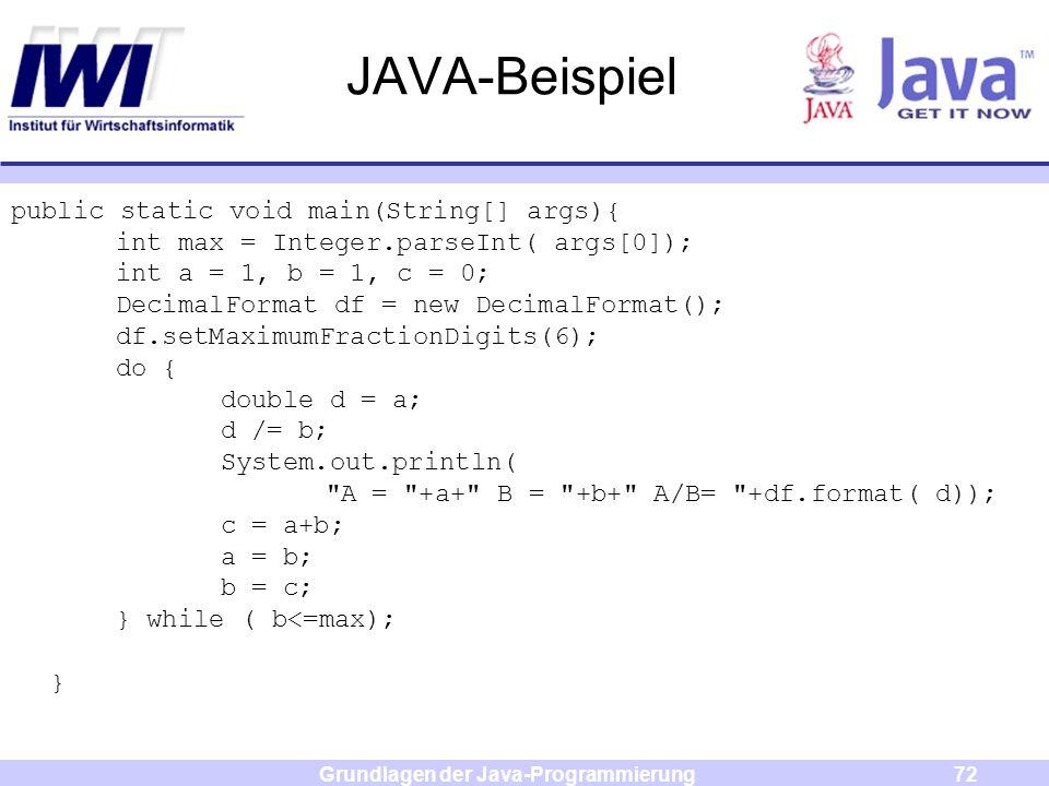 Grundlagen der Java-Programmierung72 JAVA-Beispiel public static void main(String[] args){ int max = Integer.parseInt( args[0]); int a = 1, b = 1, c =
