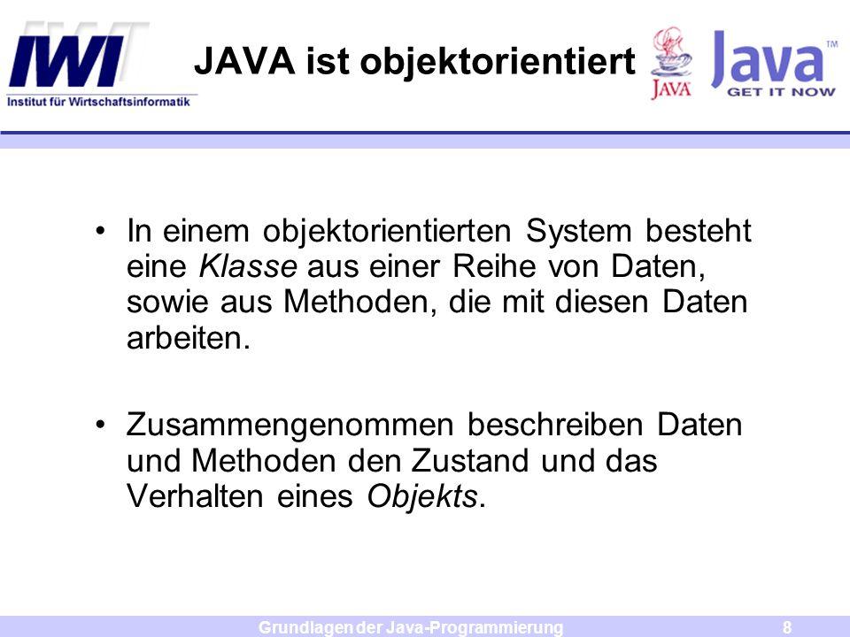 Grundlagen der Java-Programmierung8 JAVA ist objektorientiert In einem objektorientierten System besteht eine Klasse aus einer Reihe von Daten, sowie