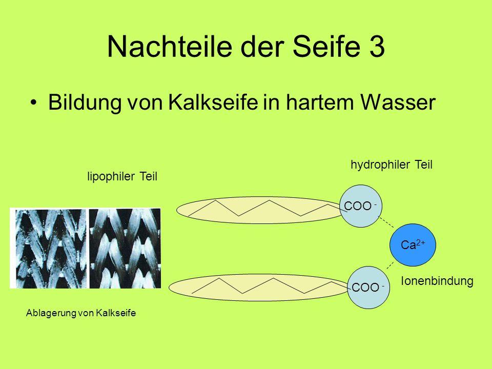 Nachteile der Seife 3 Bildung von Kalkseife in hartem Wasser COO - Ca 2+ COO - lipophiler Teil hydrophiler Teil Ionenbindung Ablagerung von Kalkseife