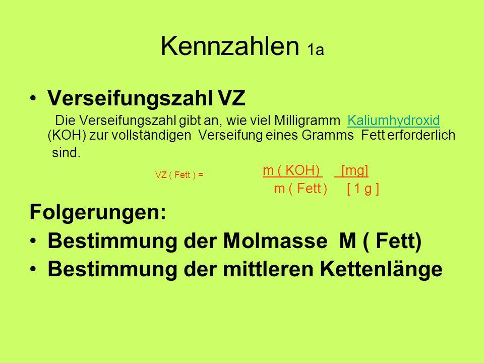 Kennzahlen 1a Verseifungszahl VZ Die Verseifungszahl gibt an, wie viel Milligramm Kaliumhydroxid (KOH) zur vollständigen Verseifung eines Gramms Fett