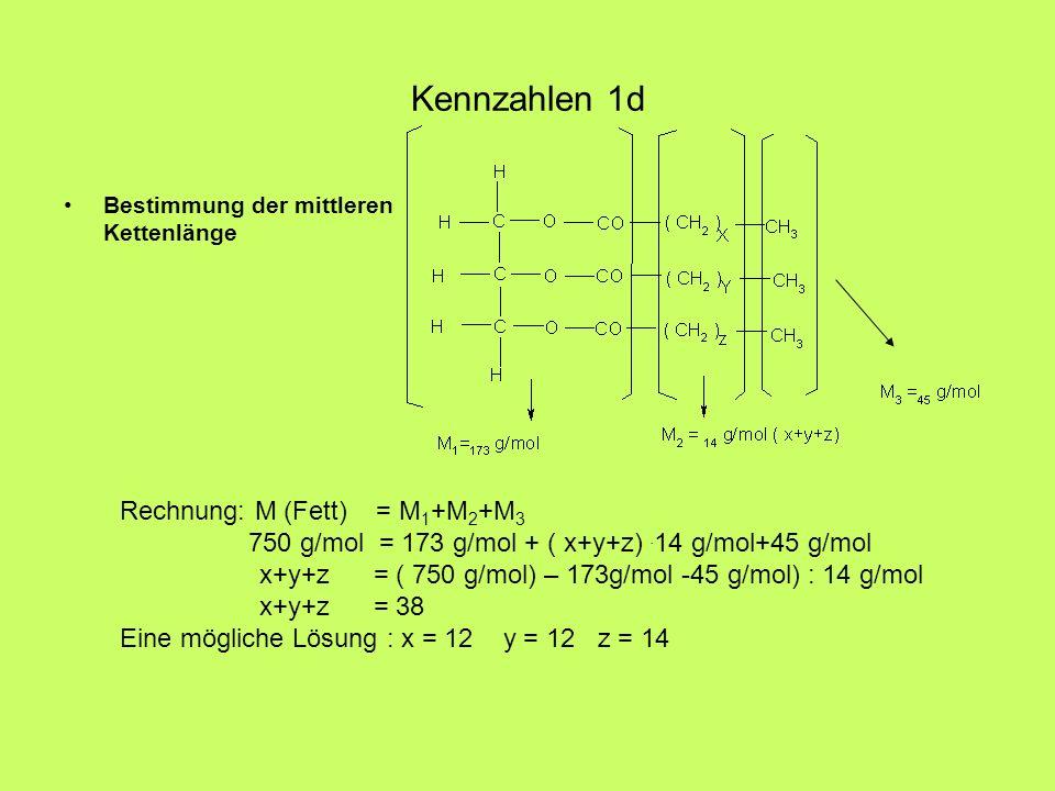 Kennzahlen 1d Bestimmung der mittleren Kettenlänge Rechnung: M (Fett) = M 1 +M 2 +M 3 750 g/mol = 173 g/mol + ( x+y+z). 14 g/mol+45 g/mol x+y+z = ( 75