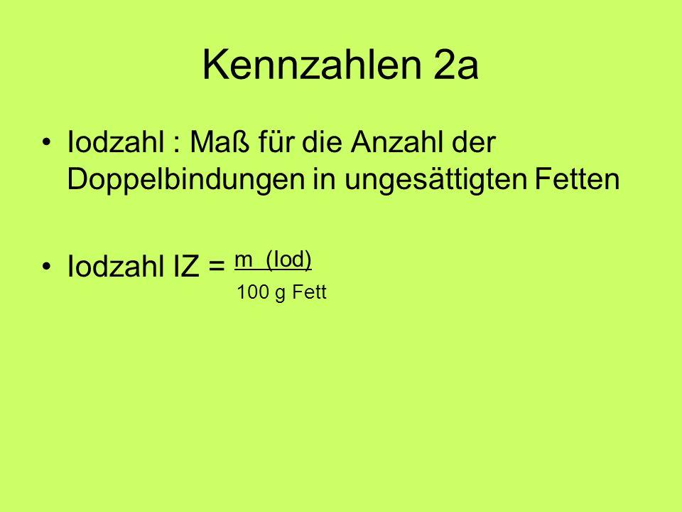Kennzahlen 2a Iodzahl : Maß für die Anzahl der Doppelbindungen in ungesättigten Fetten Iodzahl IZ = m (Iod) 100 g Fett