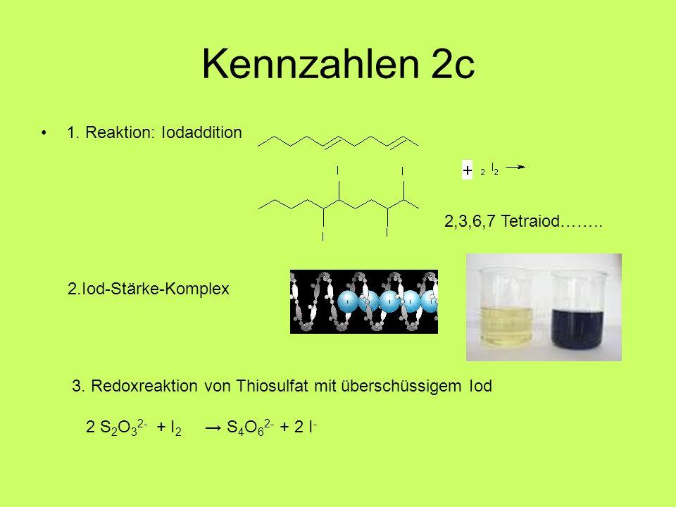 Kennzahlen 2c 1. Reaktion: Iodaddition 2,3,6,7 Tetraiod…….. 2.Iod-Stärke-Komplex 3. Redoxreaktion von Thiosulfat mit überschüssigem Iod 2 S 2 O 3 2- +