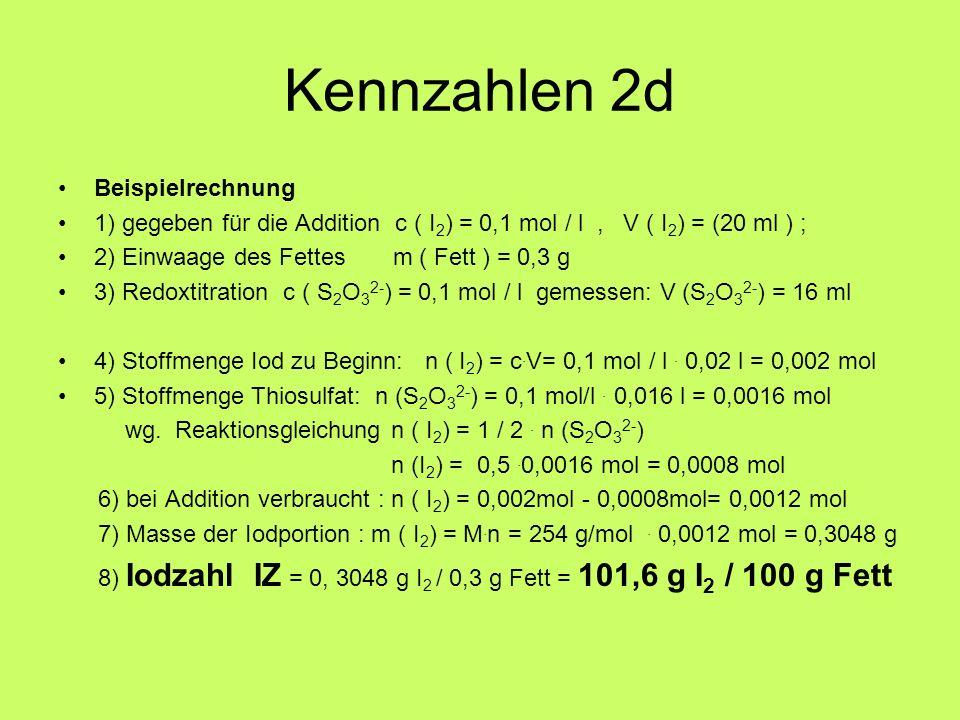 Kennzahlen 2d Beispielrechnung 1) gegeben für die Addition c ( I 2 ) = 0,1 mol / l, V ( I 2 ) = (20 ml ) ; 2) Einwaage des Fettes m ( Fett ) = 0,3 g 3