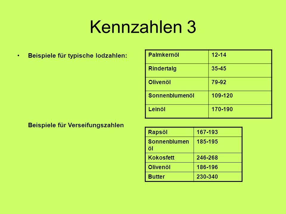 Kennzahlen 3 Beispiele für typische Iodzahlen: Palmkernöl12-14 Rindertalg35-45 Olivenöl79-92 Sonnenblumenöl109-120 Leinöl170-190 Beispiele für Verseif