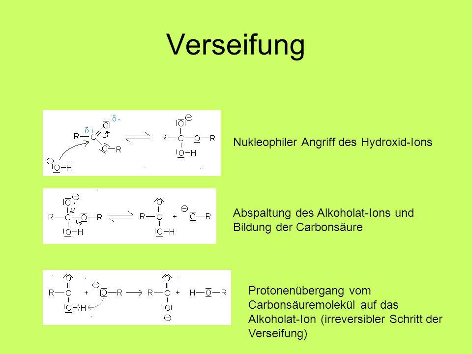 Verseifung Nukleophiler Angriff des Hydroxid-Ions Abspaltung des Alkoholat-Ions und Bildung der Carbonsäure Protonenübergang vom Carbonsäuremolekül au