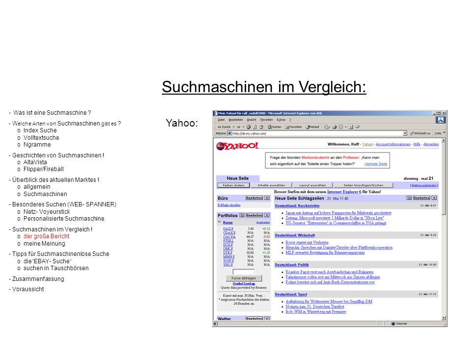 - Was ist eine Suchmaschine ? - W elche Arten von Suchmaschinen gibt es ? o Index Suche o Volltextsuche o Ngramme - Geschichten von Suchmaschinen ! o