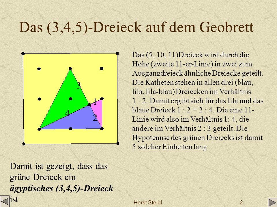 Horst Steibl2 Das (3,4,5)-Dreieck auf dem Geobrett Das (5, 10, 11)Dreieck wird durch die Höhe (zweite 11-er-Linie) in zwei zum Ausgangdreieck ähnliche