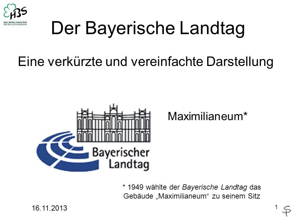 Der Bayerische Landtag Eine verkürzte und vereinfachte Darstellung 16.11.2013 1 Maximilianeum* * 1949 wählte der Bayerische Landtag das Gebäude Maximi