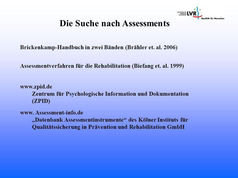 Die Suche nach Assessments Brickenkamp-Handbuch in zwei Bänden (Brähler et.
