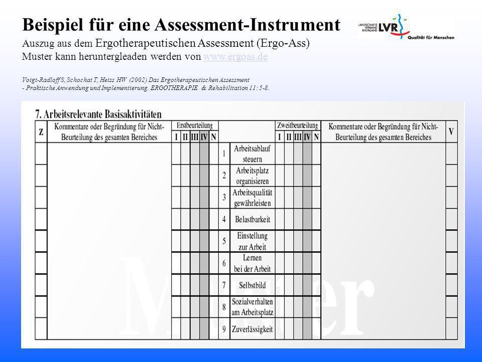 Beispiel für eine Assessment-Instrument Auszug aus dem Ergotherapeutischen Assessment (Ergo-Ass) Muster kann heruntergleaden werden von www.ergoas.dewww.ergoas.de Voigt-Radloff S, Schochat T, Heiss HW (2002) Das Ergotherapeutischen Assessment - Praktische Anwendung und Implementierung.