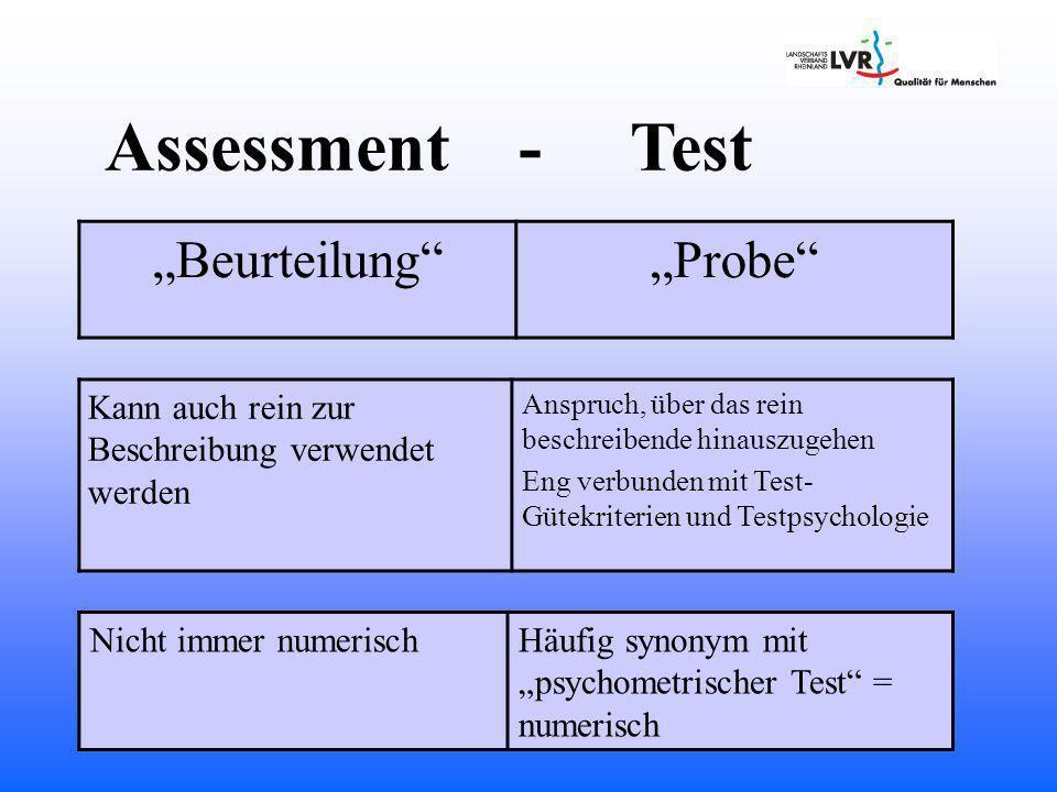 Assessment - Test Kann auch rein zur Beschreibung verwendet werden Anspruch, über das rein beschreibende hinauszugehen Eng verbunden mit Test- Gütekriterien und Testpsychologie Nicht immer numerischHäufig synonym mit psychometrischer Test = numerisch BeurteilungProbe