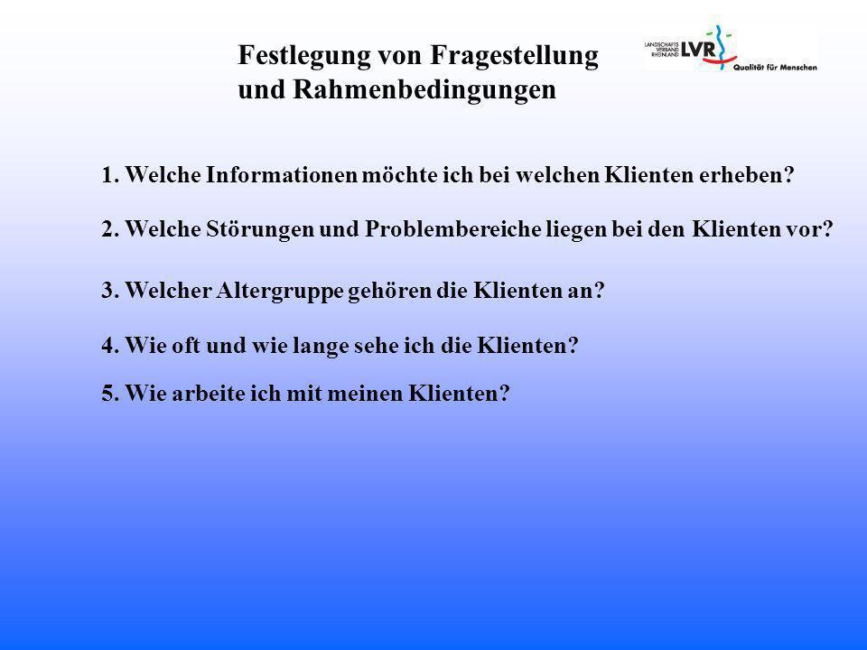Festlegung von Fragestellung und Rahmenbedingungen 1.