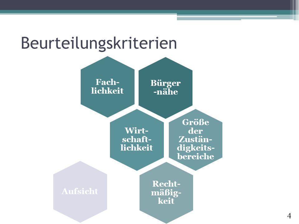 Beurteilungskriterien Bürger -nähe Fach- lichkeit Wirt- schaft- lichkeit Größe der Zustän- digkeits- bereiche Recht- mäßig- keit Aufsicht 4