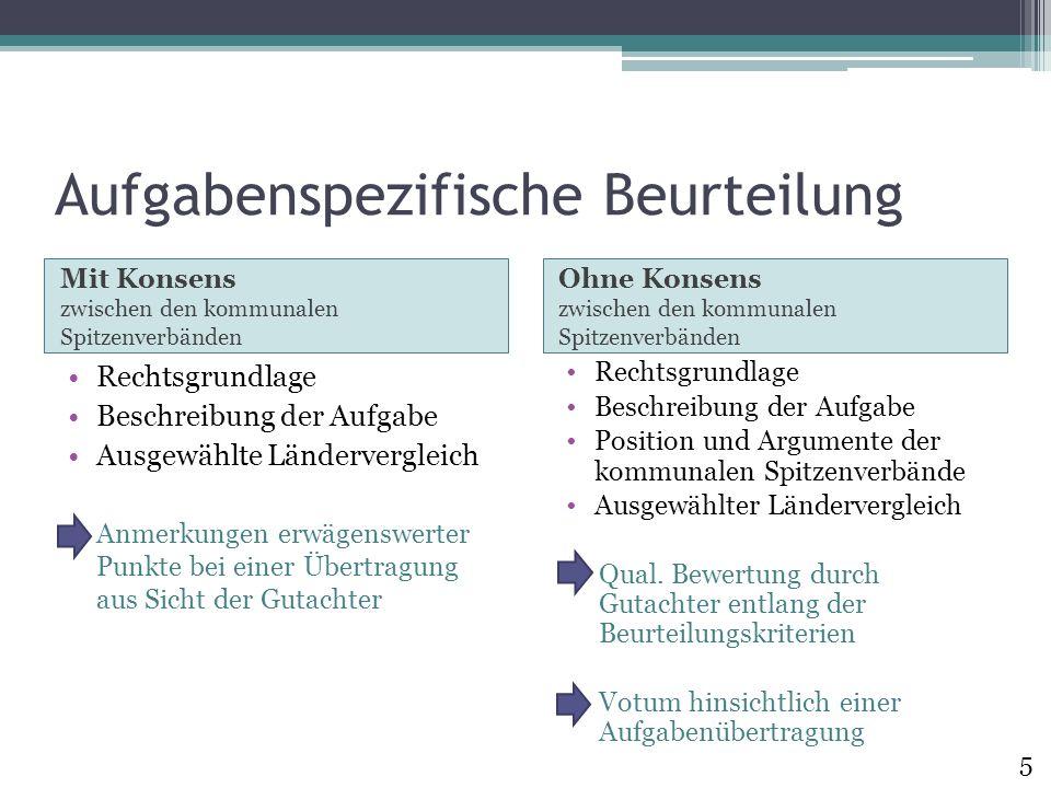 Aufgabenspezifische Beurteilung Mit Konsens zwischen den kommunalen Spitzenverbänden Ohne Konsens zwischen den kommunalen Spitzenverbänden Rechtsgrund