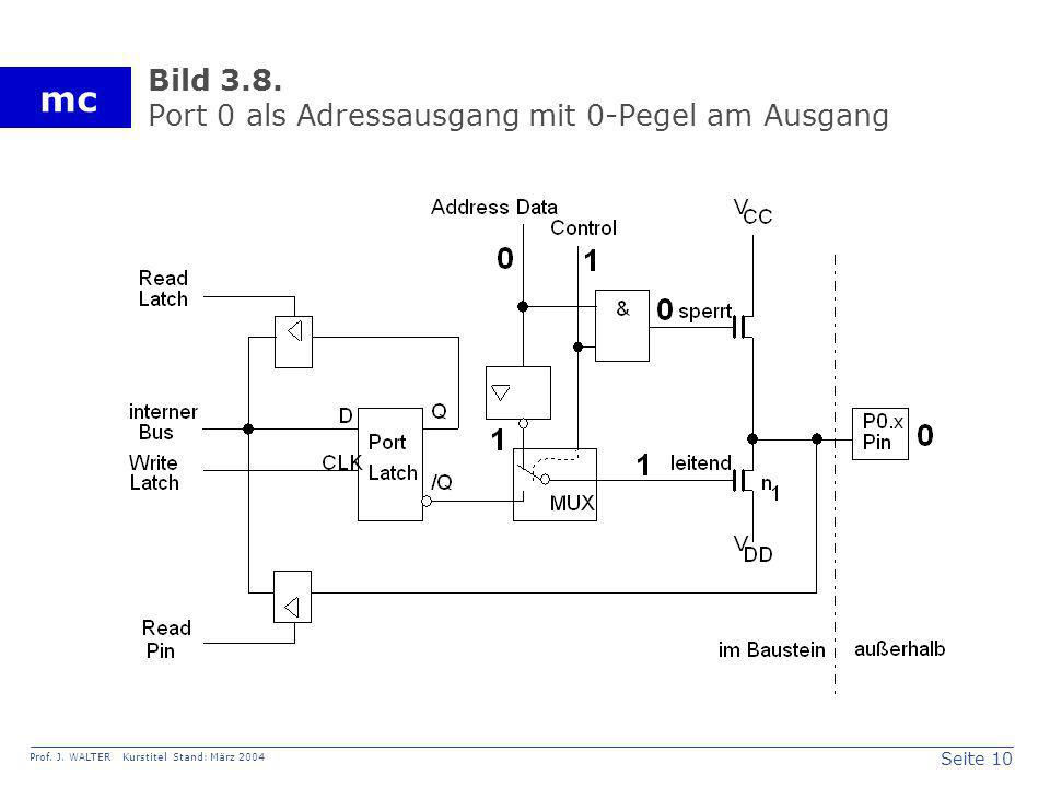 Seite 10 Prof. J. WALTER Kurstitel Stand: März 2004 mc Bild 3.8. Port 0 als Adressausgang mit 0-Pegel am Ausgang