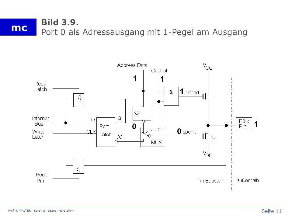 Seite 11 Prof. J. WALTER Kurstitel Stand: März 2004 mc Bild 3.9. Port 0 als Adressausgang mit 1-Pegel am Ausgang