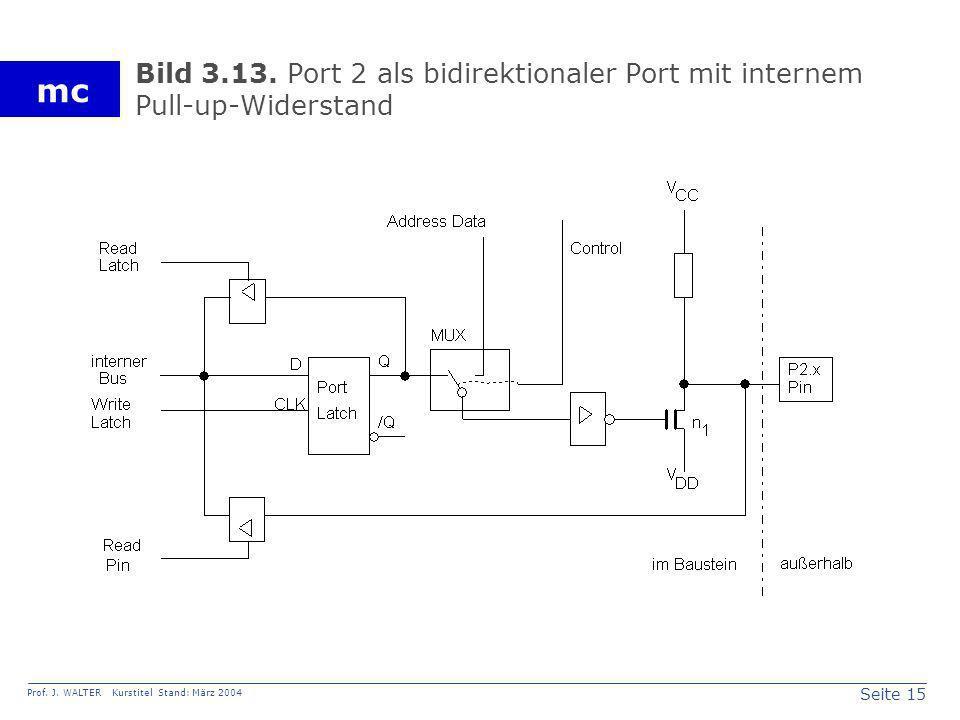 Seite 15 Prof. J. WALTER Kurstitel Stand: März 2004 mc Bild 3.13. Port 2 als bidirektionaler Port mit internem Pull-up-Widerstand