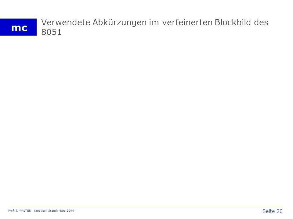 Seite 20 Prof. J. WALTER Kurstitel Stand: März 2004 mc Verwendete Abkürzungen im verfeinerten Blockbild des 8051