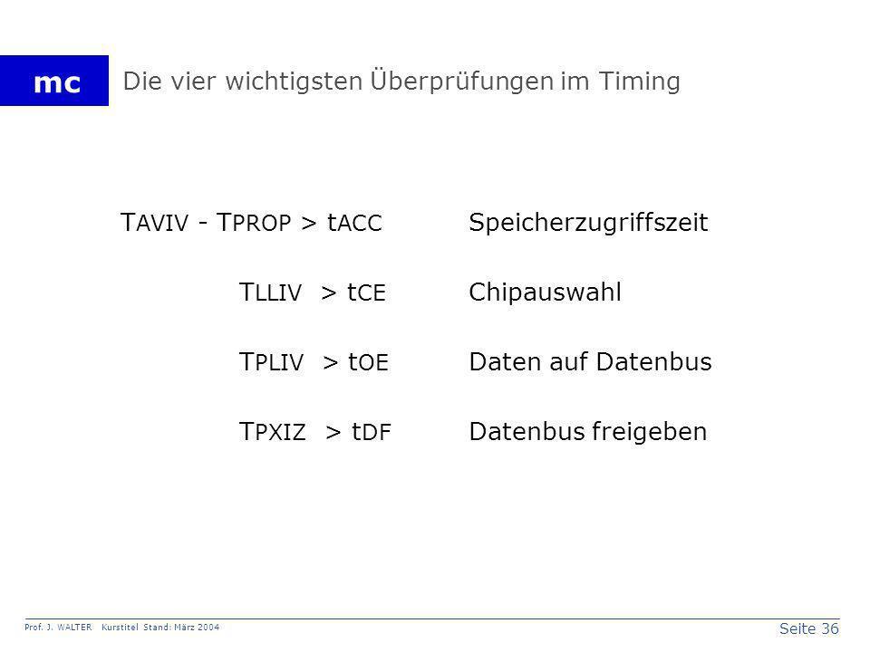 Seite 36 Prof. J. WALTER Kurstitel Stand: März 2004 mc Die vier wichtigsten Überprüfungen im Timing T AVIV - T PROP > t ACC Speicherzugriffszeit T LLI