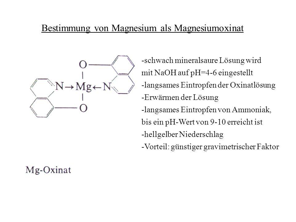 Bestimmung von Magnesium als Magnesiumoxinat -schwach mineralsaure Lösung wird mit NaOH auf pH=4-6 eingestellt -langsames Eintropfen der Oxinatlösung