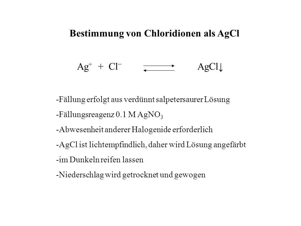 Bestimmung von Chloridionen als AgCl Ag + + Cl AgCl -Fällung erfolgt aus verdünnt salpetersaurer Lösung -Fällungsreagenz 0.1 M AgNO 3 -Abwesenheit and