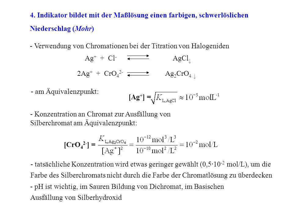 4. Indikator bildet mit der Maßlösung einen farbigen, schwerlöslichen Niederschlag (Mohr) - Verwendung von Chromationen bei der Titration von Halogeni