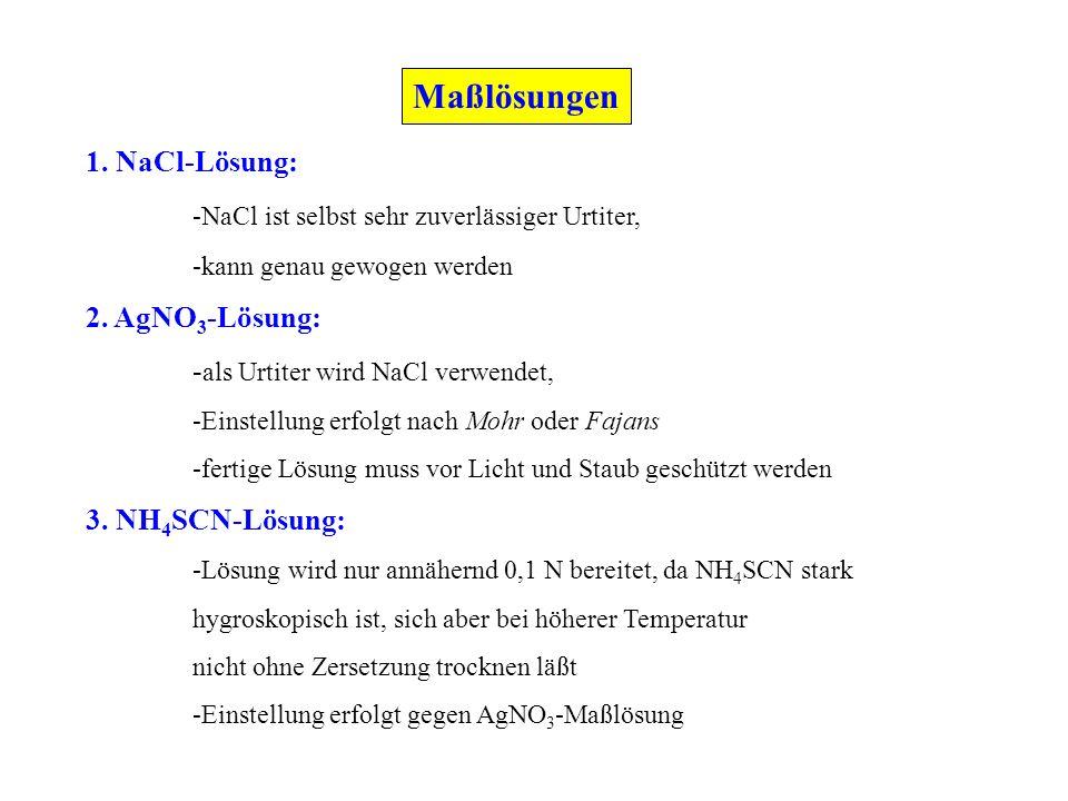 1. NaCl-Lösung: -NaCl ist selbst sehr zuverlässiger Urtiter, -kann genau gewogen werden 2. AgNO 3 -Lösung: - als Urtiter wird NaCl verwendet, -Einstel