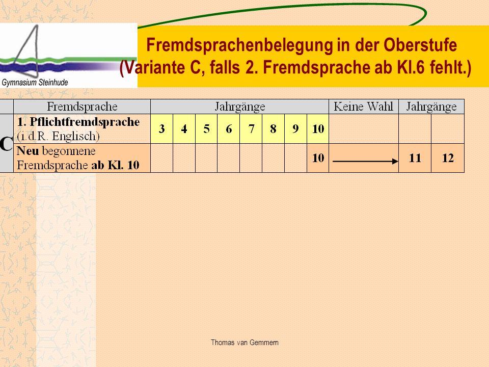 Fremdsprachenbelegung in der Oberstufe (Variante C, falls 2. Fremdsprache ab Kl.6 fehlt.) Thomas van Gemmern