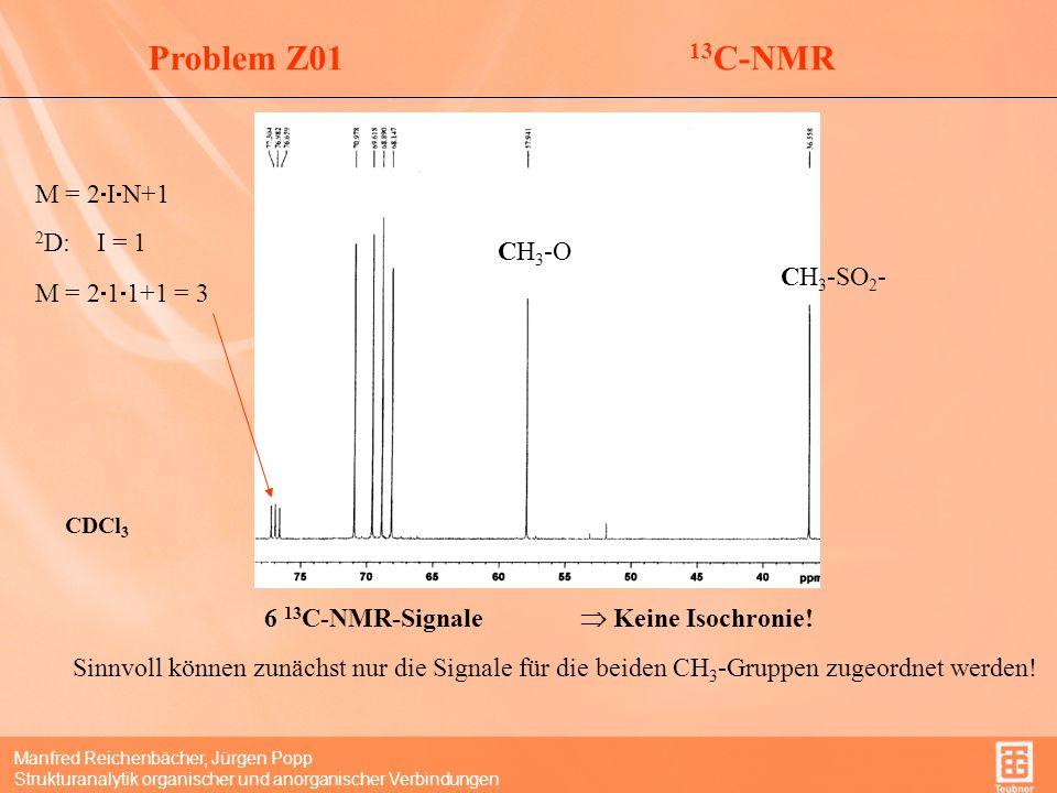 Manfred Reichenbächer, Jürgen Popp Strukturanalytik organischer und anorganischer Verbindungen Problem Z01CH x -Strukturen DEPT 135-Spektrum CH + CH 3 CH 2 Unterscheidung CH + CH 3 liefert das DEPT90-Spektrum ( nur CH 3 -Signale) (hier nicht erforderlich) Signal Zuordnung 36,6 ppmCH 3 -SO 2 - 57,9 ppmCH 3 -O- CH 2 -O