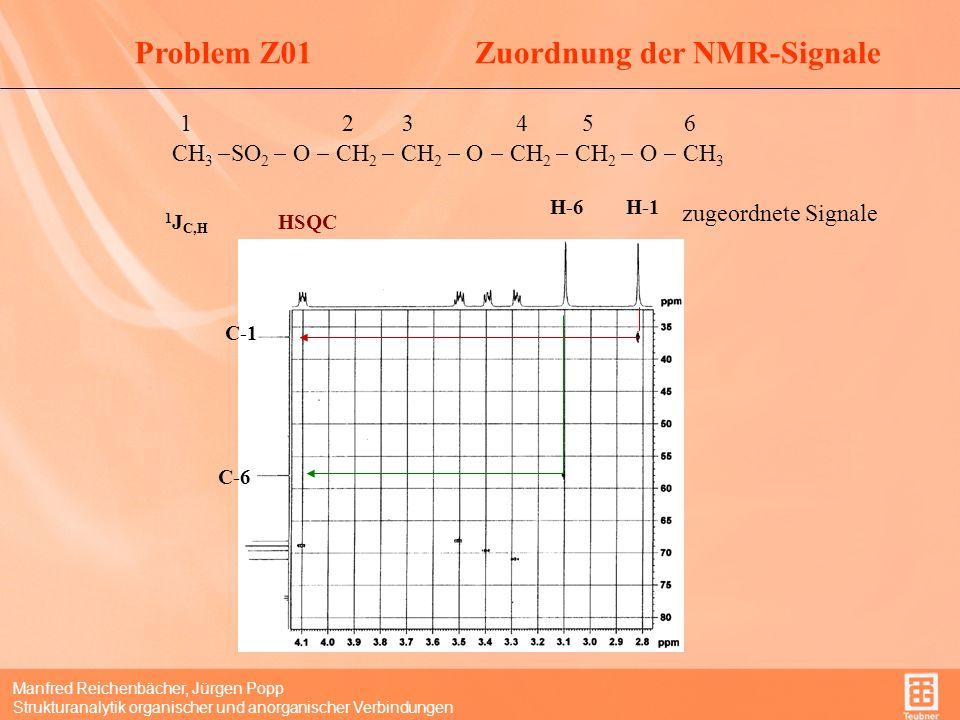 Manfred Reichenbächer, Jürgen Popp Strukturanalytik organischer und anorganischer Verbindungen Problem Z01Zuordnung der NMR-Signale 1 2 3 4 5 6 CH 3 SO 2 O CH 2 CH 2 O CH 2 CH 2 O CH 3 1 J C,H H-2H-3H-4H-5 C-2 C-3 C-4 C-5 zugeordnete Signale HSQC (Ausschnitt)