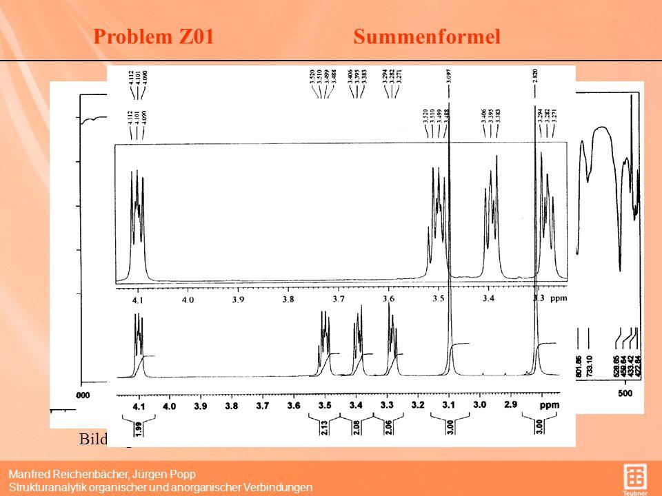 Manfred Reichenbächer, Jürgen Popp Strukturanalytik organischer und anorganischer Verbindungen SummenformelProblem Z01 Welcher Peak gehört zum Molpeak