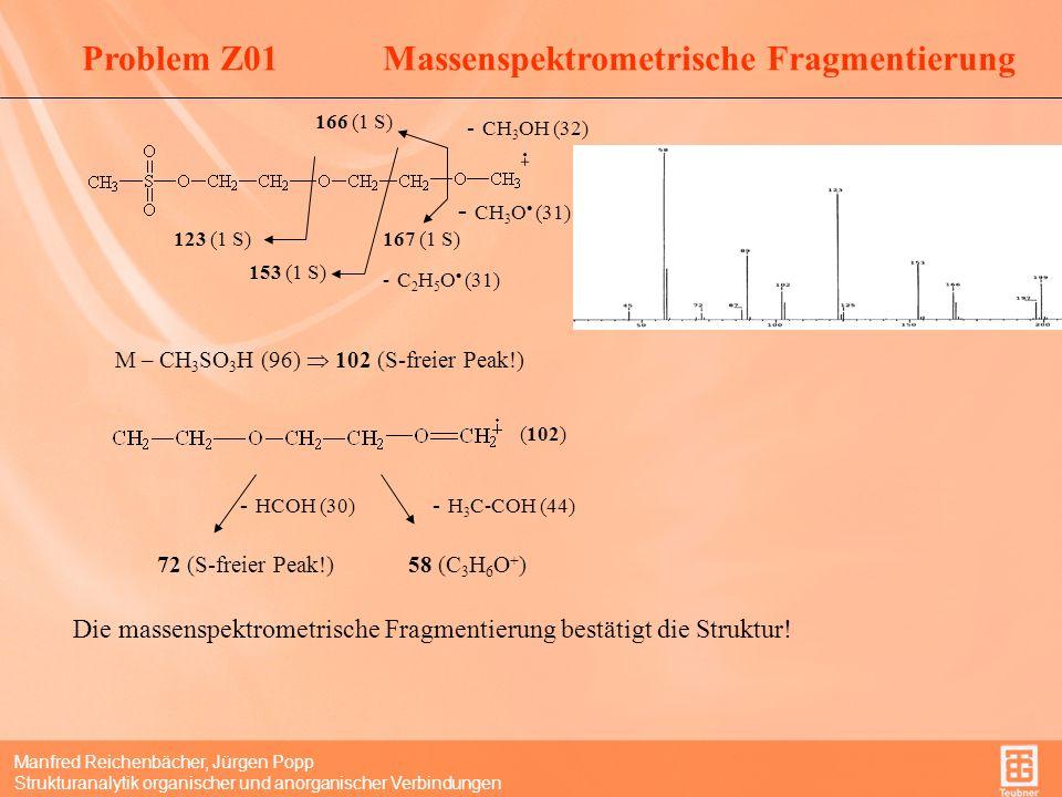 Manfred Reichenbächer, Jürgen Popp Strukturanalytik organischer und anorganischer Verbindungen - CH 3 OH (32) 166 (1 S) - CH 3 O (31) 167 (1 S) - C 2