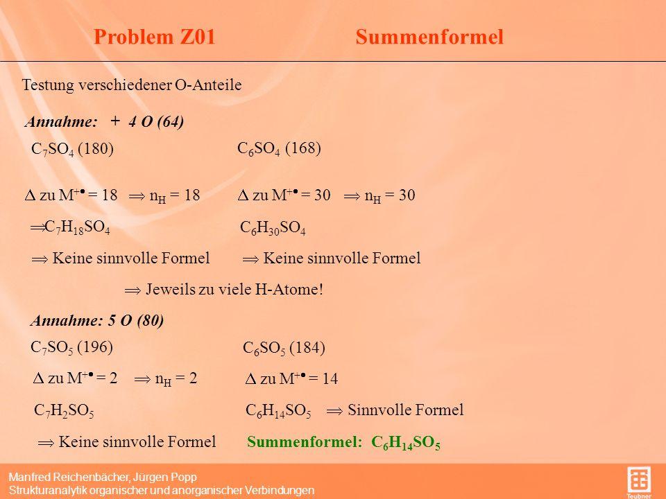 Manfred Reichenbächer, Jürgen Popp Strukturanalytik organischer und anorganischer Verbindungen DBE Summenformel: C 6 H 14 SO 5 DBE = 0(ohne Berücksichtigung von S=O-DB!) Gesättigte C,H-Struktur.