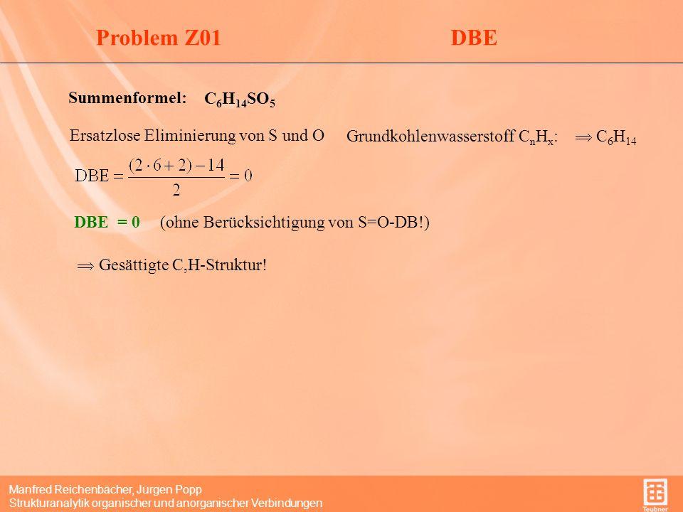 Manfred Reichenbächer, Jürgen Popp Strukturanalytik organischer und anorganischer Verbindungen DBE Summenformel: C 6 H 14 SO 5 DBE = 0(ohne Berücksich