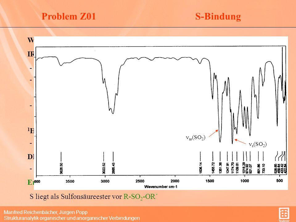 Manfred Reichenbächer, Jürgen Popp Strukturanalytik organischer und anorganischer Verbindungen StruktureinheitenProblem Z01 3022 cm -1 Wertebereich der (CH,sp 2 ) DBE: Es gibt aber keine ungesättigte Struktureinheit.