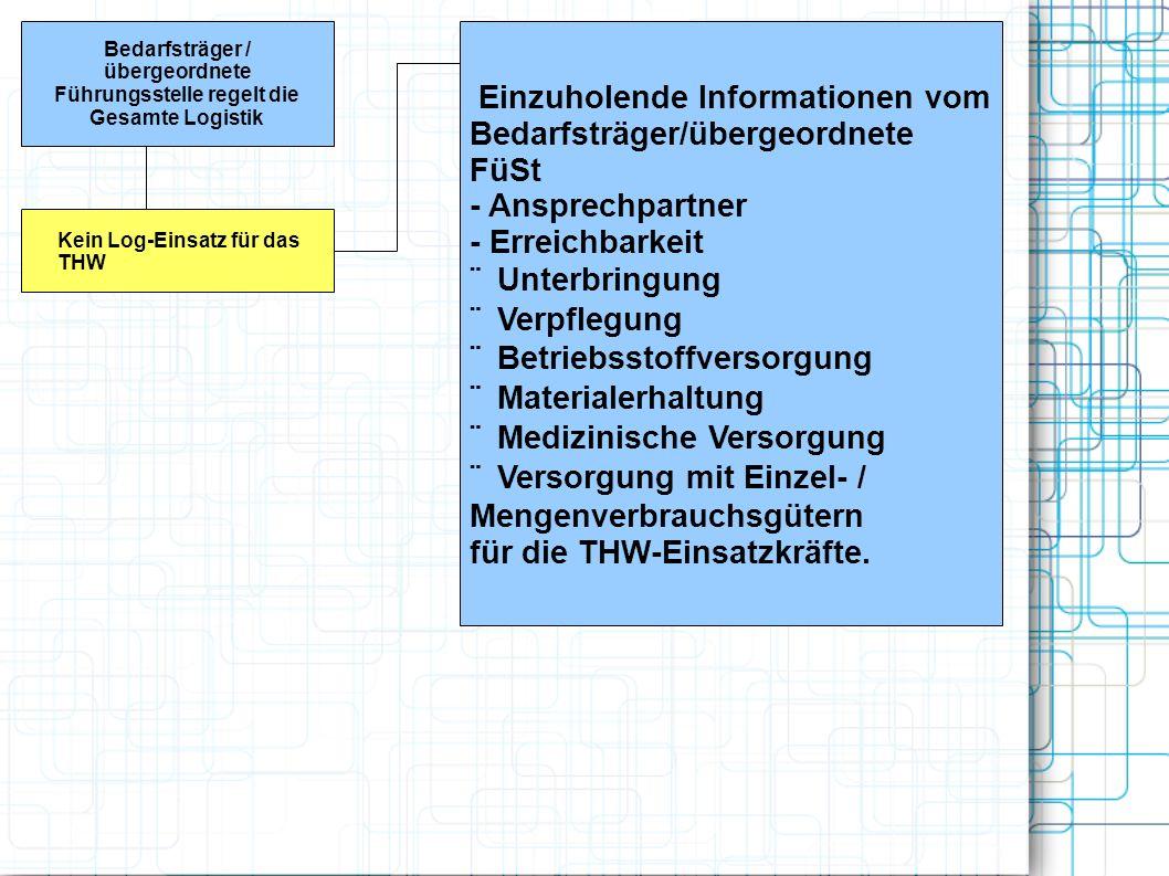 Bedarfsträger / übergeordnete Führungsstelle regelt die Gesamte Logistik Kein Log-Einsatz für das THW Einzuholende Informationen vom Bedarfsträger/übe