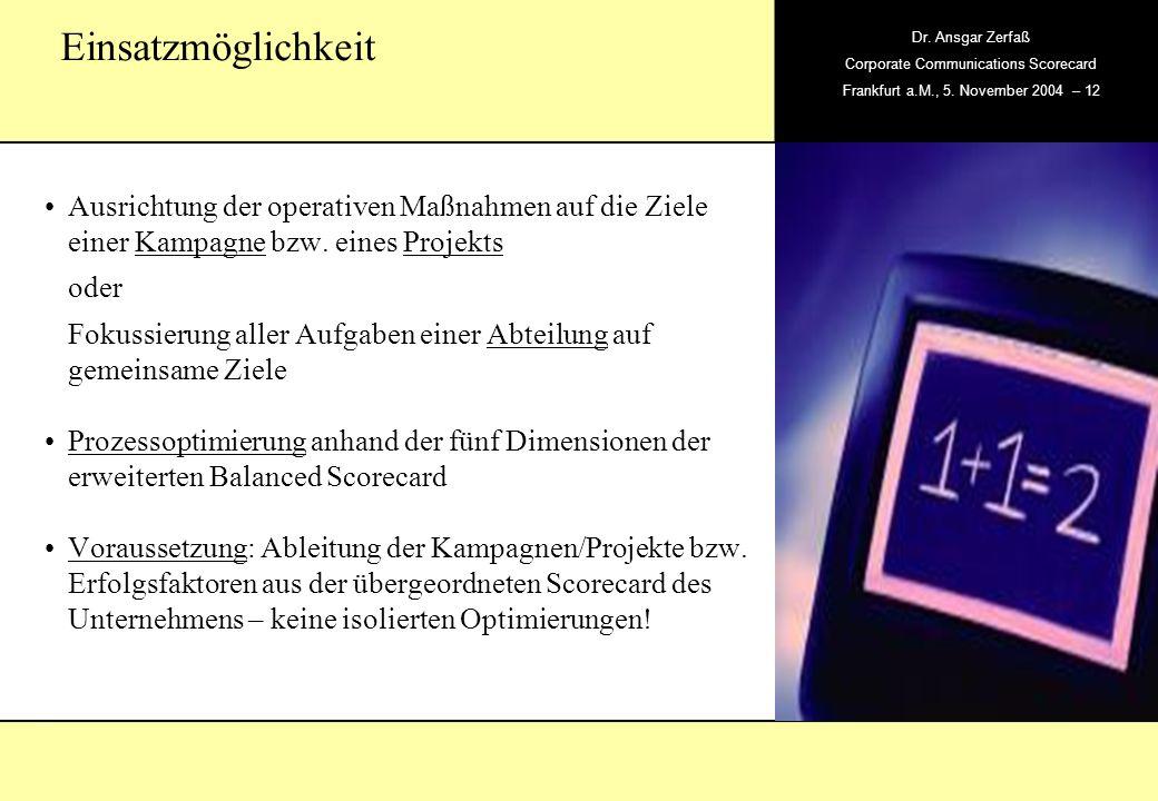 , Dr. Ansgar Zerfaß Corporate Communications Scorecard Frankfurt a.M., 5. November 2004 – 12 Ausrichtung der operativen Maßnahmen auf die Ziele einer