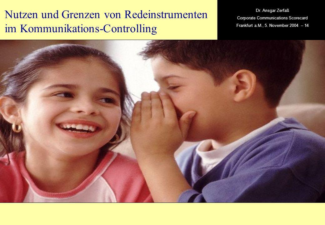 , Dr. Ansgar Zerfaß Corporate Communications Scorecard Frankfurt a.M., 5. November 2004 – 14 Nutzen und Grenzen von Redeinstrumenten im Kommunikations